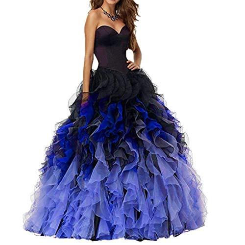 Aurora dresses Damen Gradient Quinceanera Kleider Abendkleider für Hochzeit Lang Rüschen Ballkleid(Königsblau,44) (Royal Blau Hochzeit Ballons)