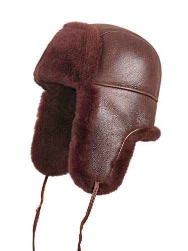 Zavelio gewachsenes Schaffell Leder Aviator Russische Uschanka Trapper Winter Fell Hat, Herren, Brick Color