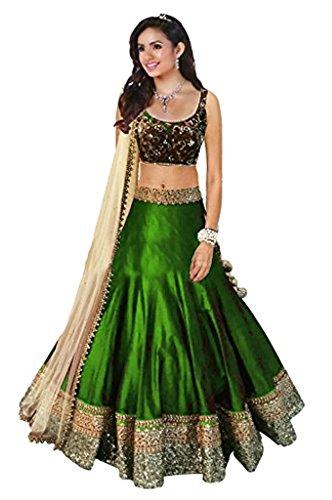 Muta Fashions Banglory Cotton Green Women Lehenga ( LEHENGA61_Green )