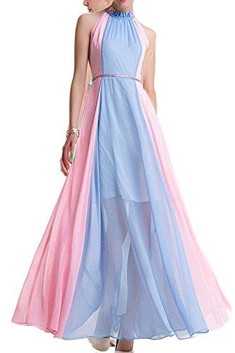 Frauen Ärmellose Schulterfreien Chiffon Boho Maxi - Party - Kleid Blue