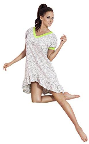 PIGEON Lingerie - Chemise de nuit - Manches Courtes - Femme Gris - Multicolore
