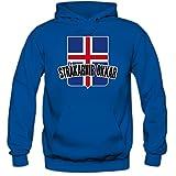 Shirt Happenz Island WM 2018#4 Kapuzenpullover | Fußball | Herren | Strákarnir Okkar | Trikot | Nationalmannschaft, Farbe:Blau (Royalblue F421);Größe:L