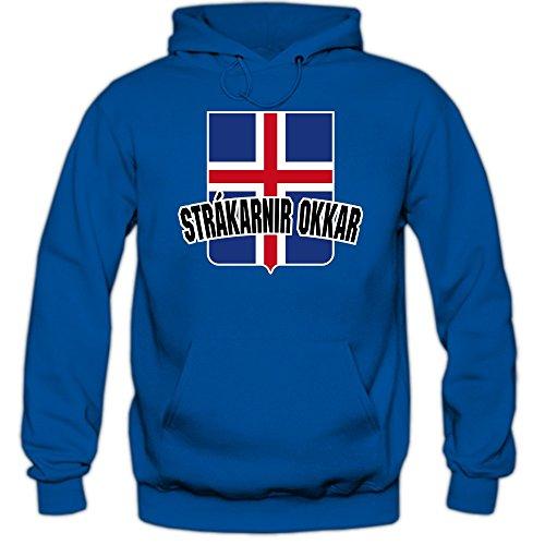 Island EM 2016 #4 Kapuzenpullover | Fußball | Herren | Strákarnir Okkar | Trikot | Nationalmannschaft, Farbe:Blau (Royalblue F421);Größe:S