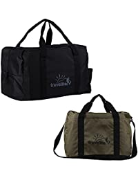 Ultralite Polyster Military Green & Black Duffle Bag Combo Pack Of 2 (55 L)