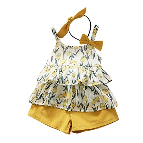JERFER Baby Set Sommer Infant Girl Kid Sleeveless Flowers Vest Tops T Shirt+Shorts Outfits Set