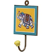 Sale on Wall Hooks - Cyber Monday Deals 2016 - SouvNear 15.7 cm Yellow Elephant Design Square Wall Hook - Wall-Mounted Handmade Ceramic Iron Teal Hooks - A Primitive Clothes, Key, Coat Hanging Single Hook for Indoors or Outdoors - Bedroom, Bathroom, Living Room, Patio, Garden and Yard