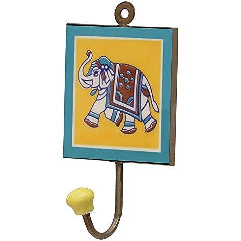 SouvNear tronco diseño del elefante suerte - hecho a mano gancho - 15.7 cm - Perchero de pared (solo ganchos) - engancha de cerámico tradicional gancho decoración de la pared - montaje sobre pared - casa decoración accesorios - pared decoración ganchos - en marrón, blanco, azul y amarillo color con elefante diseño - gancho