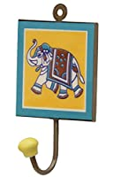 CYBER MONDAY SALE WEEK 2016SouvNear 15.7 cm Yellow Elephant Design Square Wall Hook - Wall-Mounted Handmade Ceramic Iron Teal Hooks - A Primitive Clothes, Key, Coat Hanging Single Hook for Indoors or Outdoors - Bedroom, Bathroom, Living Room, Patio, ...