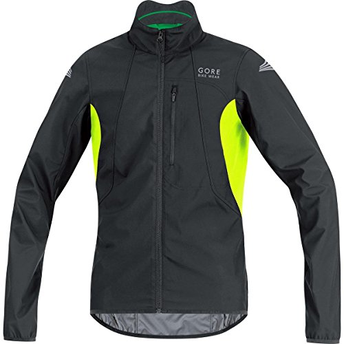 Gore Bike Wear Element Windstopper Active Shell - Chaqueta para hombre, color negro / amarillo, talla XL