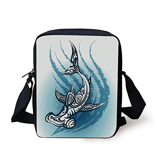 CBBBB Shark,Hammerhead Fish with Ornamental Ethnic Effects Swimming Ocean Image,Dark and Petrol Blue White Print Kids Crossbody Messenger Bag Purse -