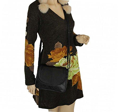 Kleine Lambskin Damen Leder Tasche Handtasche Überschlag Umhängetasche Schultertasche Clutch Damentasche Ledertaschen (Schwarz 6627 (22x19 cm)) Schwarz (22x19 cm)