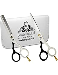 """BeautyTrack 5.5"""" Hair Cutting Scissors set - Hairdressing Salon Professional cutting and thinning Scissors - Barber's Choice + safety Case"""