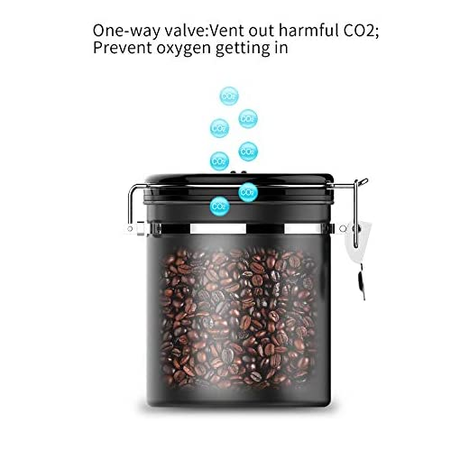 Airtight Coffee Canister, HomeApp Coffee Container Universal Stainless Steel Coffee Cans with CO2 One-way Valve Sealed Storage lid to Store Coffee Beans or Coffee Powder Perfectly (with Measure Scoop)