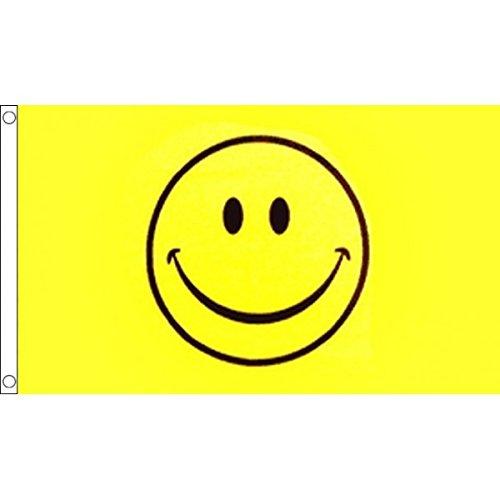 x 90cm, lachender Smiley auf gelbem Grund, 100 % Polyester, ideal für Bar/Disco/Festival/Partydekoration ()