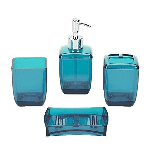 BalladHome Bad-Accessoires-Set modernen 4-teiliges Badezimmer Zubehör Set Seifenspender Zahnputzbecher Seifenschale, Zahnbürsten/Utensilienhalter -Kunststoff (Blau)