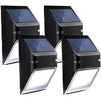 Mpow 5 LED Lámpara Solar de Pared,Iluminación de Seguridad para Exerior Casa Jartín Secalera, Encendido / Apagado Automaticamaente, 4 Unidad,Color Negro