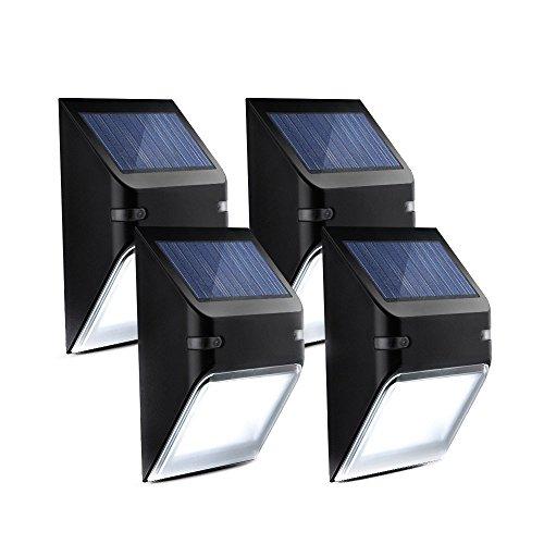 Mpow 5 LED Lampe Wasserdicht Solarbetriebene Wandlampen Wireless Security Außenbeleuchtung für Patio Deck Yard Garten Haus Treppen, Automatisch EIN / AUS (Kein Dim Licht-Modus) -4 Stück