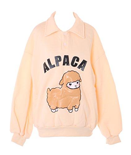 TS-127 Alpaka Beige Apricot Alpaca Süß Overzised Look Pastel Goth Lolita Pullover Sweatshirt Harajuku Kawaii-Story