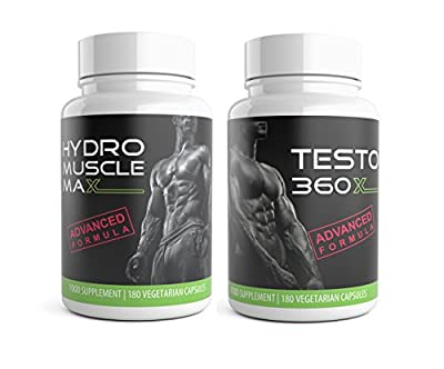 Hydro Muscle Max and Testo XL 360 | 360 Testosterone Boosters for Men Ultra Testo Tribulus Extreme Testosterone Supplements Bundle Pack by Natural Answers by Natural Answers