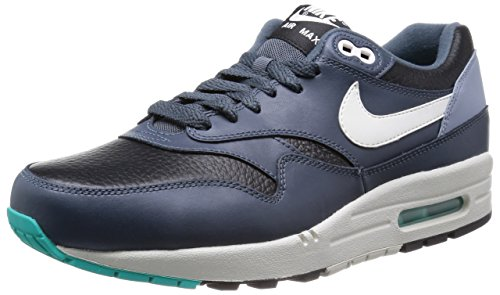 Nike Air Max 1 537383, Sneaker Low-top Herren Nero Avorio Grigio Scuro Magnete 002