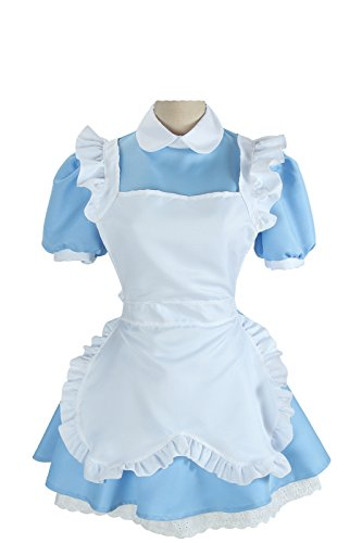Nuoqi® Alice's Wonderland Lolita Blue cameriera Cosplay Costumi Fancy Dress Set grembiule (XL, WSJ16-GC)