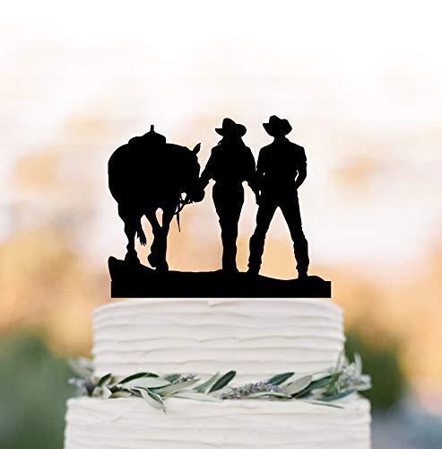 Derles 855350 Tortenaufsatz Cowboy und Cowgirl für Hochzeitstorte, Pferd, Kuchen Topper, Farmer Hochzeit (Pferd Topper Hochzeitstorte)