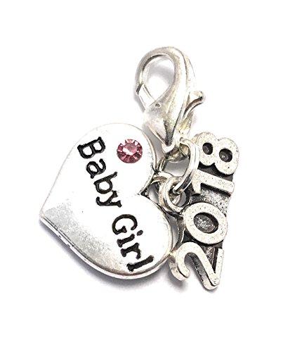 Baby Girl 2017 Clip auf Charme mit rosa Geschenkbeutel handgefertigt von Libby 's Market Place (Girls Clip Auf Charme)