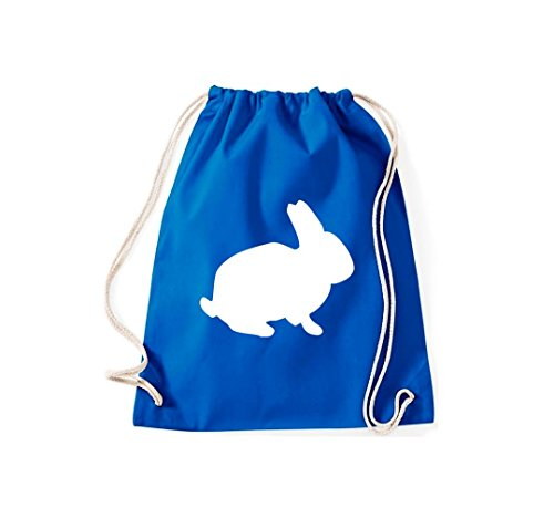 Turnbeutel Tiermotive Zoo Hase Kaninchen rabbit Gymsack Kultsack Royalblau