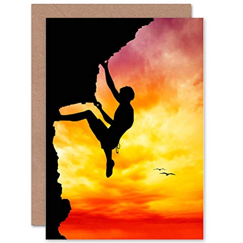Wee Blue Coo Sport Sunset Free Climber Silhouette Birthday Sealed Greeting Card Plus Envelope Blank Inside Sonnenuntergang