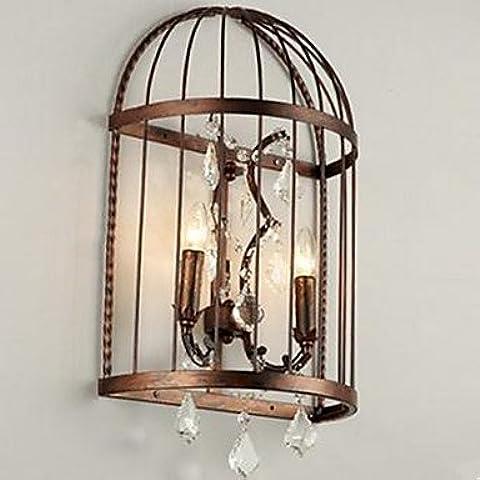 KMDJ cabecera del dormitorio pasillo personalidad creativa hierro forjado lámpara de cristal de jaula de pájaros ,