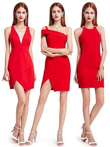 Ever Pretty Rotes Cocktailkleid mit tiefen V-Ausschnitt 42 Rot