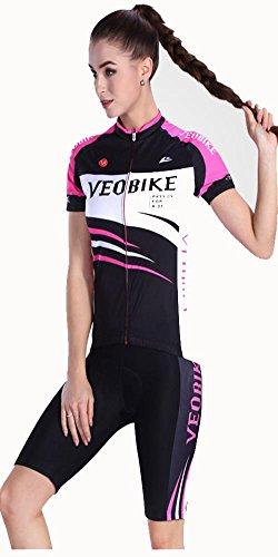 Maglia da ciclismo da donna pantaloncini asciugatura rapida sleeve + pantalone pantaloni + cuscino 3d imbottito , 001 , xxl