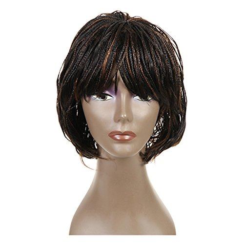 NEWFB perruques en dentelle synthétique perruques tressées pour petites femmes perruques courtes 12 pouces(#1B/30)