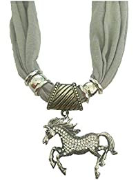 Girlz! Grey Color Scarf/Stole With Horse Pendant For Women