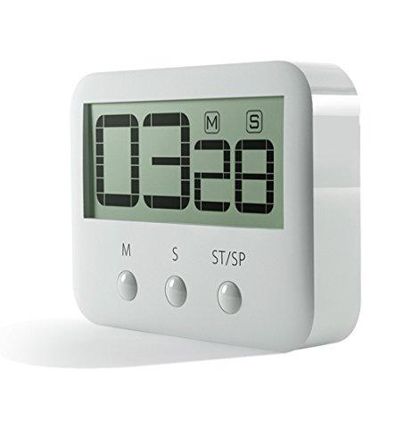 Pingko Digitale Küchentimer, große Ziffern, lauter Alarm, magnetische Rückseite, Ständer, Countdown Timer bis Maximalen 99Minuten 59Sekunden–weiß