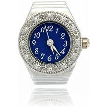 Ring Watch - SODIAL(R)Finger Ring Ring Watch Bezel Quartz Arabic Numeral Silver blue NEW