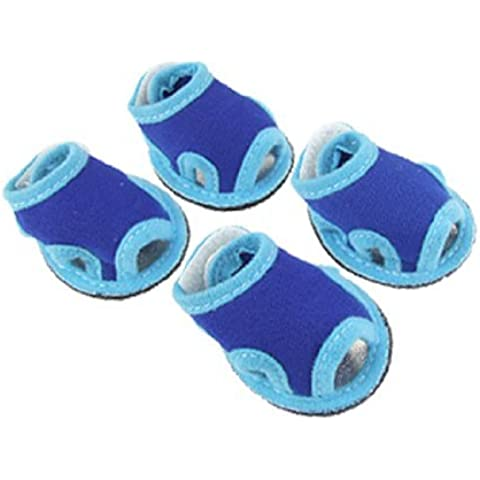 Water & Wood 4 Pcs Cozy Blue Velcro Closure Mesh Dog Shoes Boots Sandals Sz 1