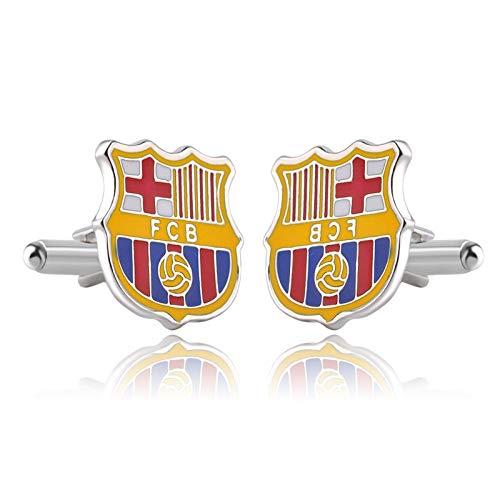 WLEYYYManschettenknopfDirekt ab Werk FCB Barcelona Fußballverein Team Logo Hemd Manschettenknöpfe grenzüberschreitend kreative heißer Verkauf, Silber