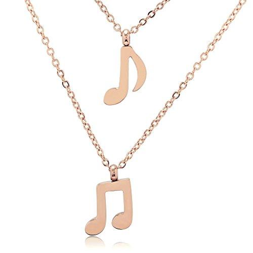Leder-karte Italienische Fall (Epinki Edelstahl Damen Doppel Music Note Rose Gold 0.9X0.9CM Anhänger Halskette)