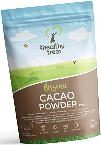 TheHealthyTree Company Cacao in Polvere Bio - Ricchi di Magnesio, Fibra, Proteina, Potassio e Ferro - Polvere di Cacao Bio (250g)
