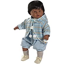 Berbesa - Baby dulzón negrito llorón, muñeco con vestido azul (80271N)