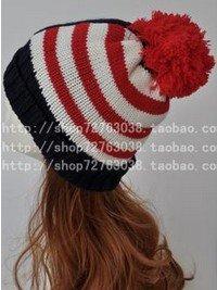 Winter Hat Knit Russian Cute Trapper Warm Cool Girl Women USA Star Stripes