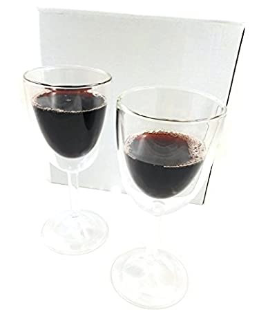 2x doppelwandige Weingläser - Geschenk für Genießer & Weinkenner, Design elegant & stilvoll, Weißweingläser Rotweingläser - Set 2 Stück, je 275ml, thermisches Glas, haltbares Borosilikatglas, Cocktailgläser, Geschenk