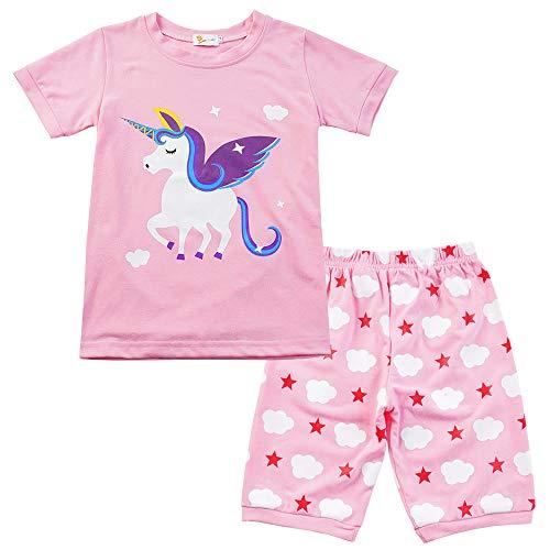 EULLA Mädchen Schlafanzug Giraffe Drucken Nachtwäsche Baumwolle Kinder Sommer Bekleidung Einhorn Pyjama Set Rosa Kurze à