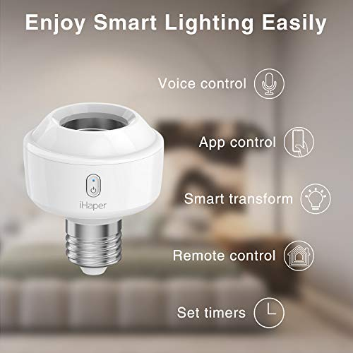 iHaper S1 Smart Socket E27, WIFI Adattatore Lampadina LED Intelligente, 3000K WiFi Portalampada (solo per iOS), Funziona con Apple HomeKit, Alexa e Google Assistant, Nessun Hub Richiesto