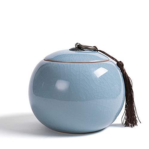 GHEGNBXS Urnen für Dekor dekorativ, Blaue kleine Keramik Einäscherung Glas, kleine Urne Glas, zu Hause oder Friedhof begraben - Blau Dekorative Glas