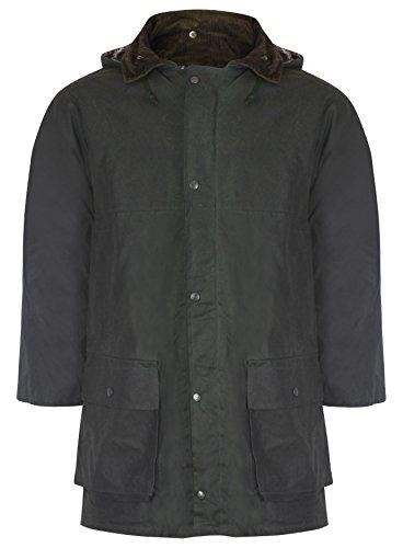 Herren Englisch Gestepte Wachs Regen Jacke S - 5XL - Olivgrün, XL -