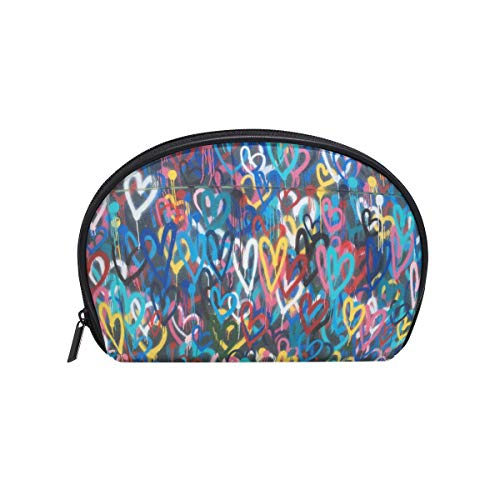 Twill Make-up Bag Small Shell Form Kulturbeutel Reisespeicher für Frauen Bunte Herz Wallpaper -