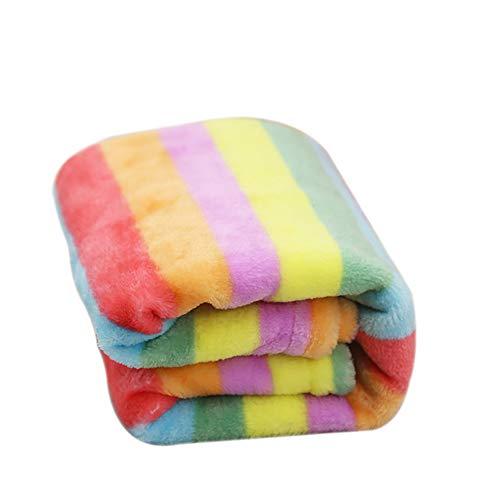 Topdo Alfombra Manta para Mascotas con Alfombra para Perros Perrera Gato Blanket otoño e Invierno Manta cálida Color Arcoiris Franela 1 Pieza L-90 * 70CM