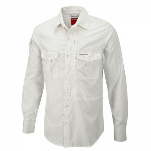 Craghoppers Herren Outdoor Reise Hemd Nosilife Langarm Hemd White